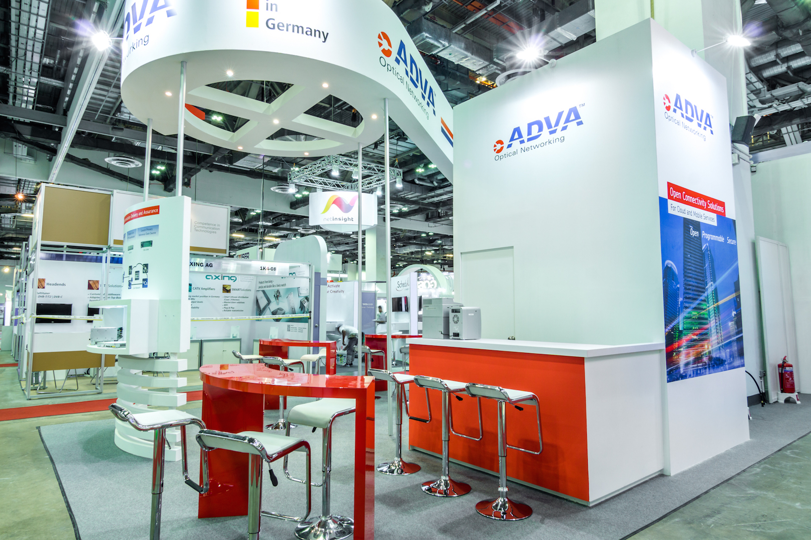Exhibition Booth Design Singapore : Adva optical exhibition booth punktlandung events